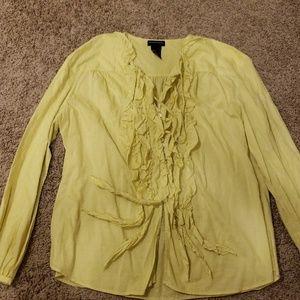 EUC Lime/yellow ruffle blouse - 14 sutton studio